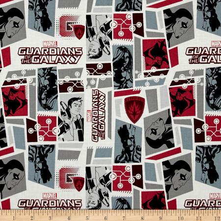 Marvel Guardians of the Galaxy Tiles Bordeaux Fabric By The Yard