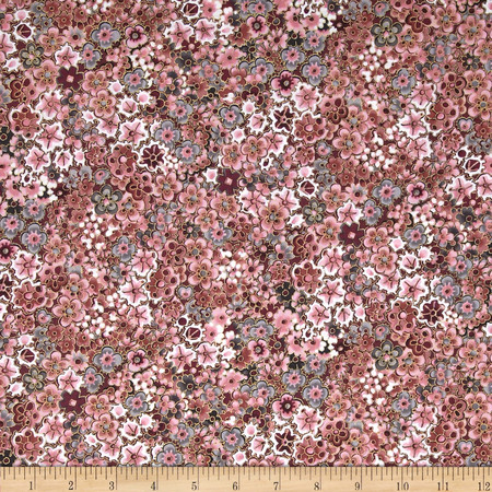 Mary May Metallic Mini Floral Primrose/Gold Fabric