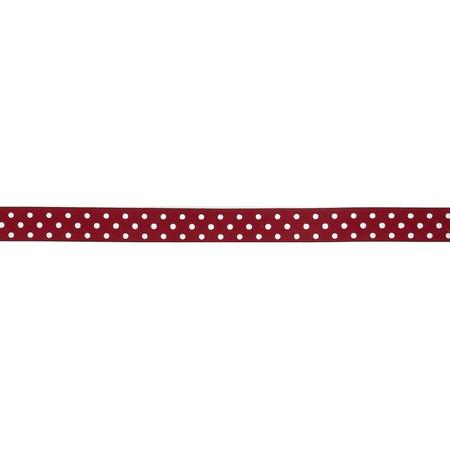 May Arts 5/8'' Grosgrain Dots Ribbon Spool Burgundy/White