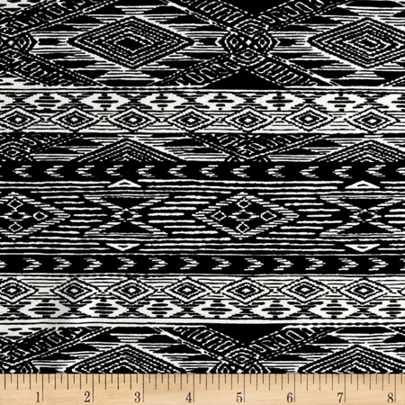 Mayan Diamond Stripe Span Jersey Black/Ivory Fabric By The Yard