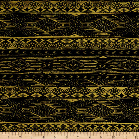Mayan Diamond Stripe Span Jersey Knit Black Sulphur Fabric By The Yard