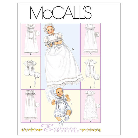 McCall's Infants' Christening Gown Rompers With Snap Crotch and Bons Pattern M6221 Size OSZ