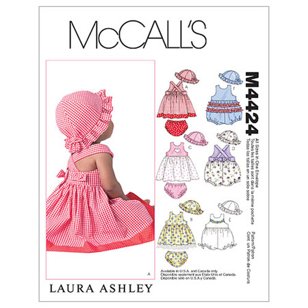 McCall's Infants' Dresses Rompers Panties and Hat Pattern M4424 Size OSZ