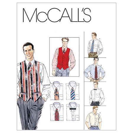 McCall's Men's Lined Vest Shirt Tie In Two Lengths and Bow Tie Pattern M2447 Size 0Y0