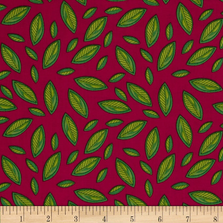 Meadow Melody Leaves Pink/Green Fabric