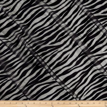 Mesh  Diagonal Zebra Stripe Onyx Fabric By The Yard