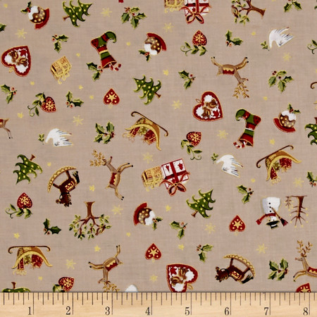 Metallic Christmas Christmas Icons Metallic Cream Fabric By The Yard