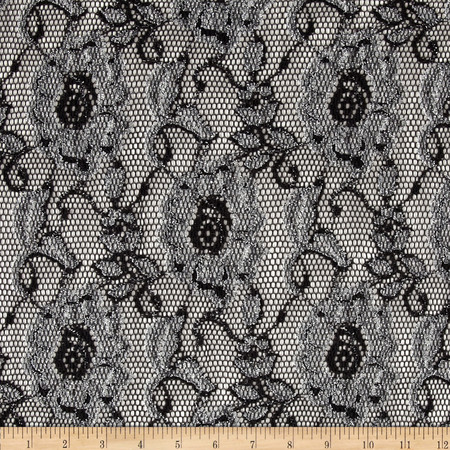 Metallic Stretch Lace Black Fabric