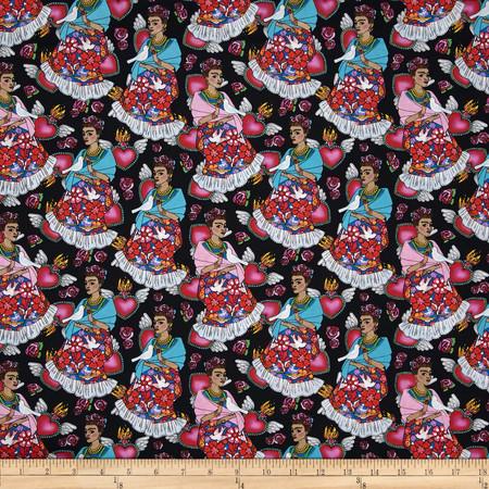 Mexican Folklore Folk Frida Black Fabric