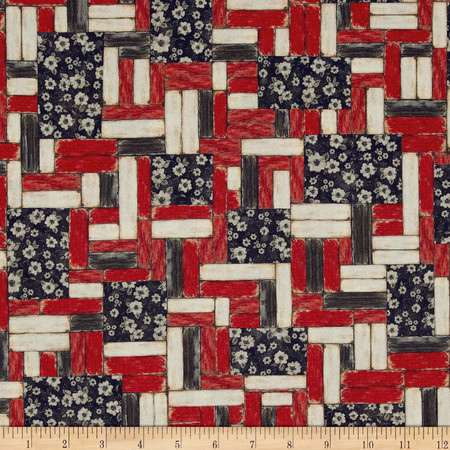 Mia Country Flock Digital Print Wood Block Patch Red Fabric By The Yard