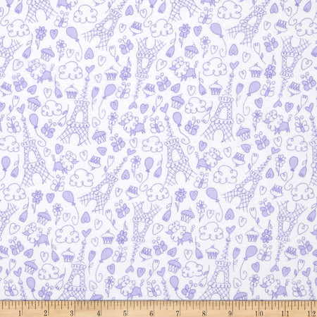 Michael Miller Baby Flannel Petite Paris Purp Fabric By The Yard