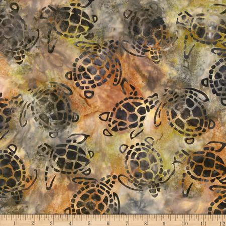 Michael Miller Batik Sea Turtles Olive Fabric