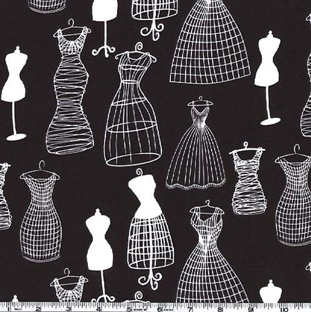 Michael Miller Dress Forms Black & White Fabric By The Yard