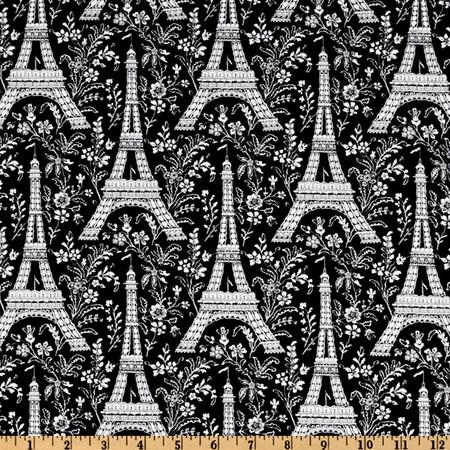 Michael Miller Eiffel Tower Ebony Fabric