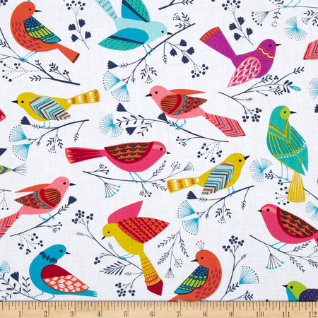 Michael Miller Flock Birds White Fabric