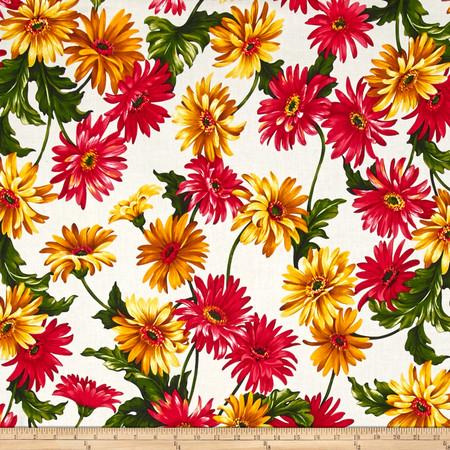 Michael Miller Florals Gerbera Garden White Fabric