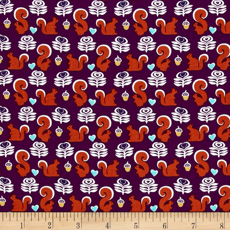 Michael Miller Fox Woods Squirrels Purple Fabric By The Yard