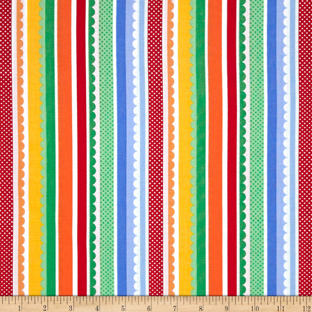 Michael Miller Funfair Carnival Stripe Primary Fabric By The Yard