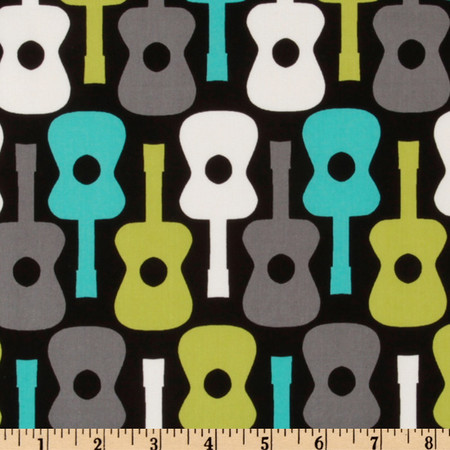 Michael Miller Groovy Guitars Lagoon Fabric By The Yard