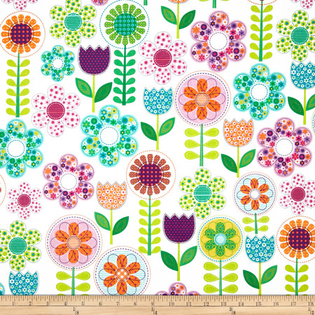 Michael Miller Happy Tones Small World Floral Pink Fabric