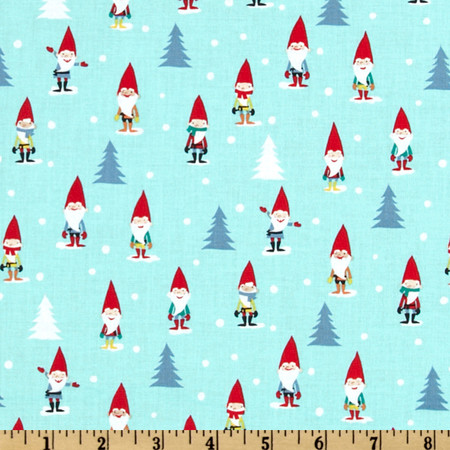 Michael Miller Holiday Many Mini Gnomes Blue Fabric By The Yard