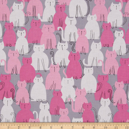Michael Miller It's a Girl Thing Pastel Pop Here Kitty Kitty Orchid Fabric