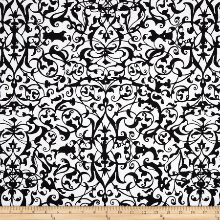 Michael Miller Midnight Trellis Gate White Fabric