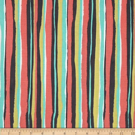 Michael Miller Migration Palm Stripe Coral Fabric By The Yard