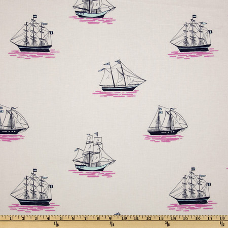 Michael Miller Out To Sea My Favorite Ship Bloom Pink Fabric By The Yard