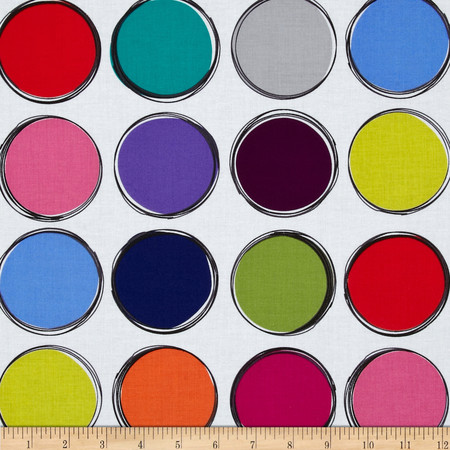 Michael Miller Paint Lids White Fabric
