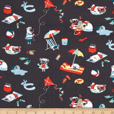 Michael Miller Pugs Day Off Multi Fabric