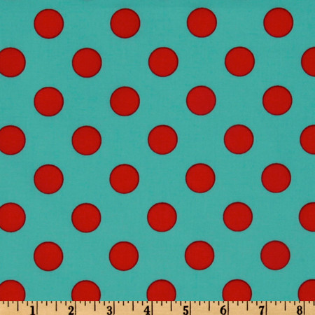 Michael Miller Quarter Dot Aqua Fabric By The Yard