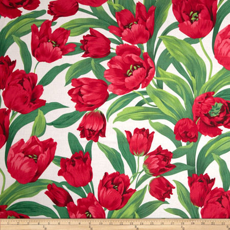 Michael Miller Ruby Tulips White Fabric