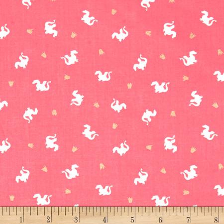 Michael Miller Sarah Jane Magic Metallic Baby Dragon Pink Fabric By The Yard