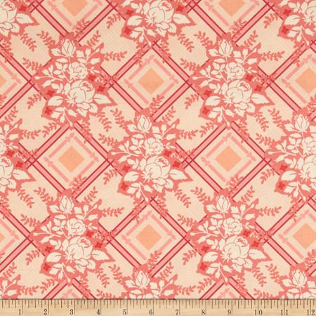 Michael Miller Strawberry Moon Picket Fences Strawberry Fabric By The Yard
