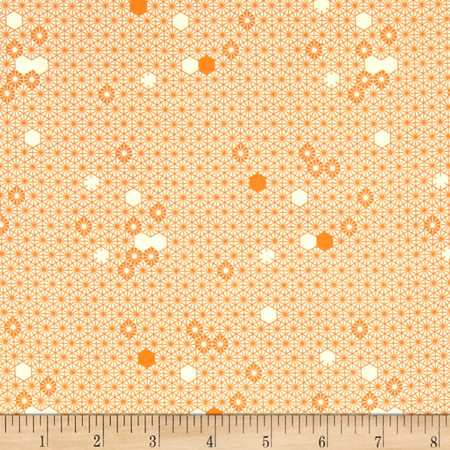 Michael Miller The Highlands Geometry Of Bees Apricot Fabric