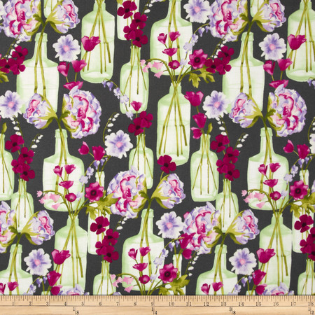 Michael Miller Vignette Posie Bouquet Charcoal Fabric