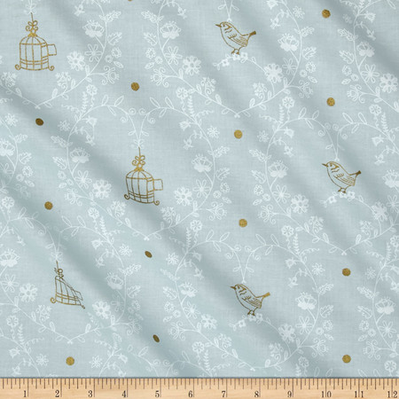 Michael Miller Wee Sparkle Metallic Free Bird Mist Fabric By The Yard