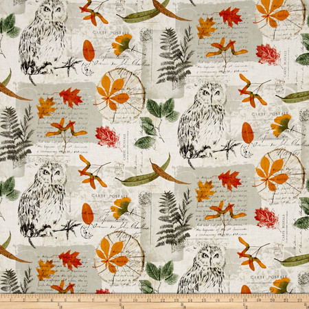 Michael Miller Wild Things Wise Owl Collage Forest Fabric By The Yard