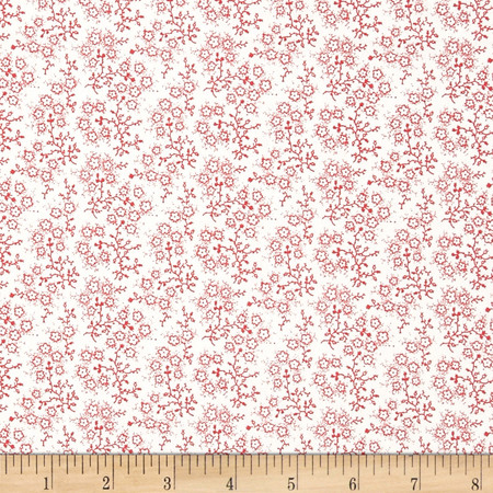 Mini Floral White/Red Fabric By The Yard