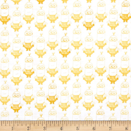 Minions British Invasion Kevin Tonal White/Yellow Fabric By The Yard