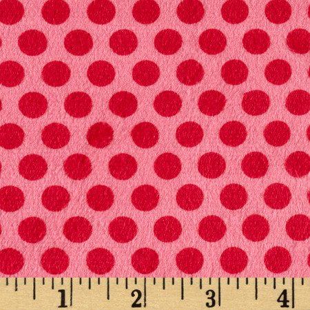 Minky 2 Tone Dot Raspberry Fabric By The Yard