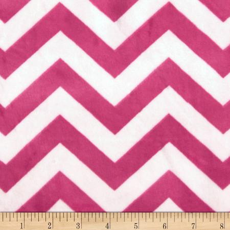 Minky 3/4'' Chevron Hot Pink/Light Pink Fabric