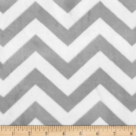 Minky 3/4'' Chevron Silver/White Fabric