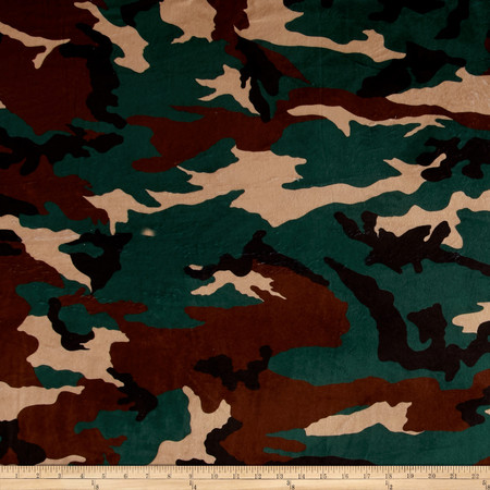 Minky Camo Green/Forest Fabric By The Yard