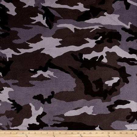 Minky Camo Grey/Black Fabric By The Yard