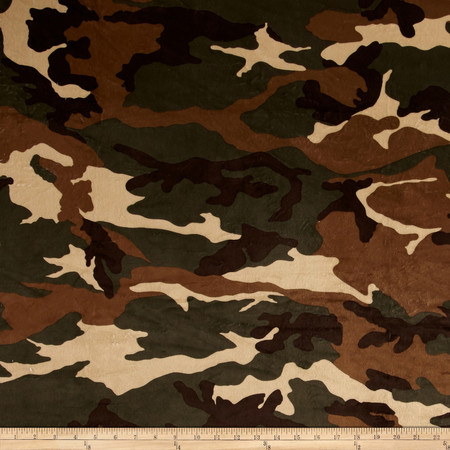 Minky Camo Olive/Camel Fabric By The Yard