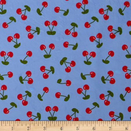 Minky Cherries Blue/Red Fabric By The Yard