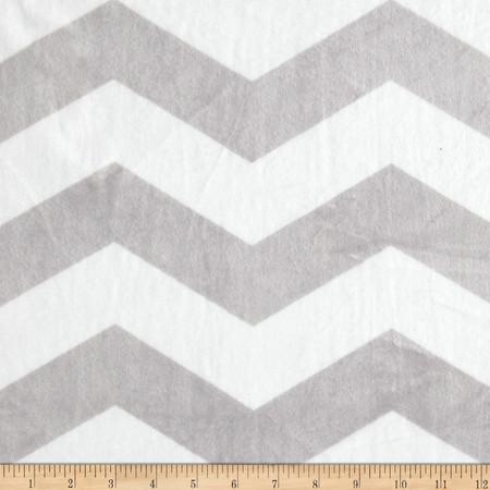 Minky Chevron Silver/White Fabric