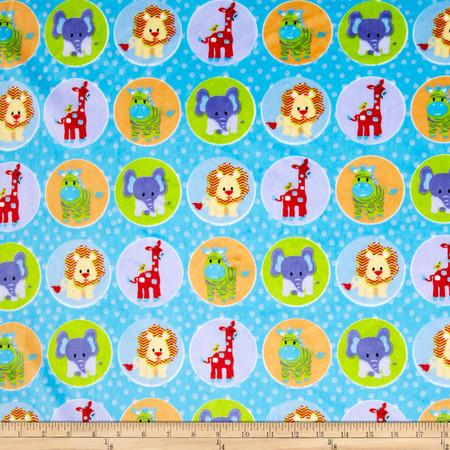Minky Circus Animal Blue Fabric By The Yard